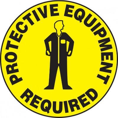 Protective Equipment Required - Adhesive Floor Sign