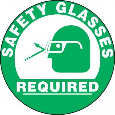 Safety Glasses Required (Green) - Adhesive Floor Sign