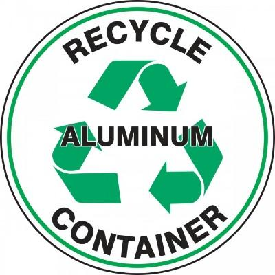 Recycle Container Aluminum - Adhesive Floor Sign