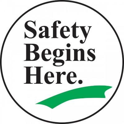 Safety Begins Here - Adhesive Floor Sign