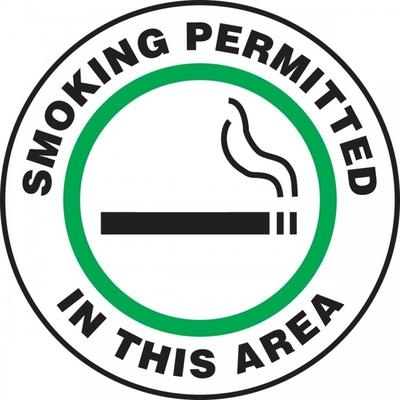 Smoking Permitted in This Area (Green) - Adhesive Floor Sign