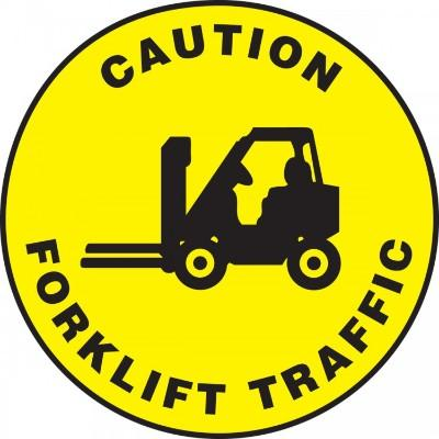 Caution - Forklift Traffic - Adhesive Floor Sign