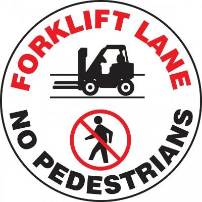Forklift Lane, No Pedestrians - Adhesive Floor Sign