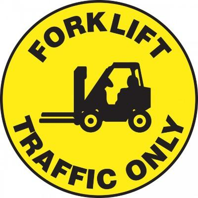Forklift Traffic Only - Adhesive Floor Sign
