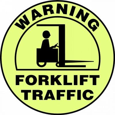 Warning Forklift Traffic - Glow Adhesive Floor Sign