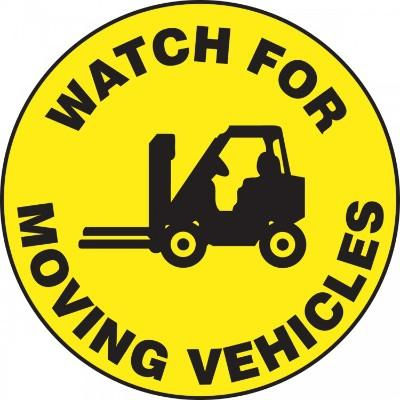 Watch For Moving Vehicles - Adhesive Floor Sign