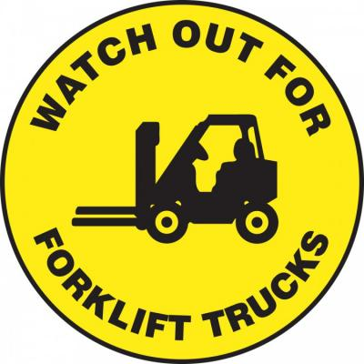 Watch Out for Forklift Trucks - Adhesive Floor Sign