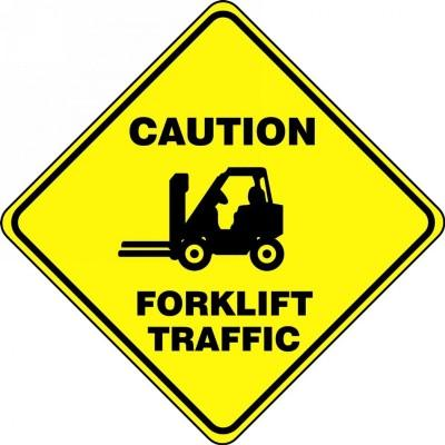 Caution Forklift Traffic - Diamond Floor Sign