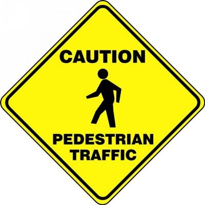 Caution Pedestrian Traffic - Diamond Floor Sign