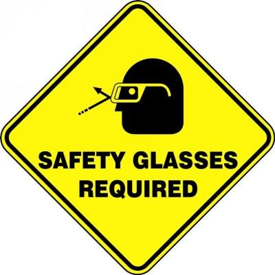 Safety Glass Required - Diamond Floor Sign