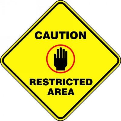 Caution Restricted Area - Diamond Floor Sign
