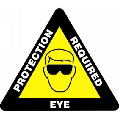 Eye Protection Required - Triangular Floor Sign