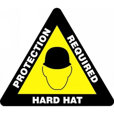 Hard Hat Protection Required - Triangular Floor Sign