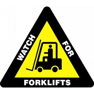 Watch for Forklifts - Triangular Floor Sign