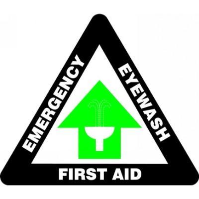 First Aid, Emergency Eyewash - Triangular Floor Sign