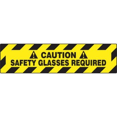 Caution - Safety Glasses Required - Step Style Floor Sign
