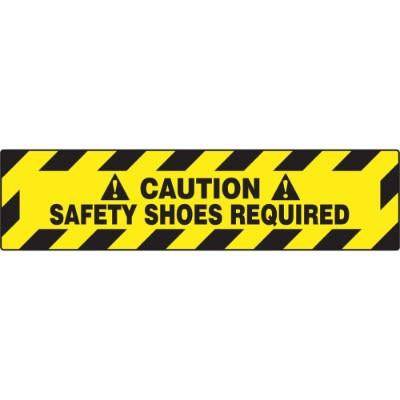 Caution - Safety Shoes Required - Step Style Floor Sign