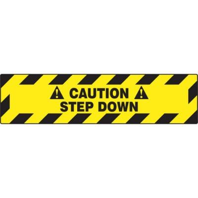 Caution - Step Down - Step Style Floor Sign