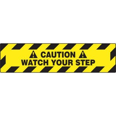 Caution - Watch Your Step - Step Style Floor Sign