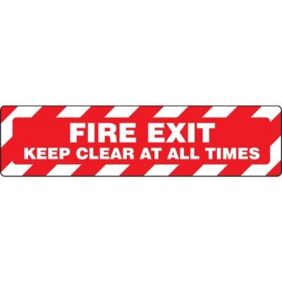 Fire Exit - Keep Clear At All Times - Step Style Floor Sign