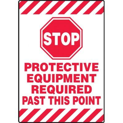 Stop - Protective Equipment Required - Mat Style Floor Sign