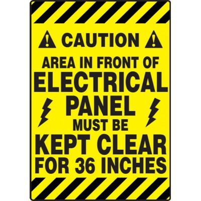Caution - Area in Front of Electrical Panel - Mat Style Floor Sign