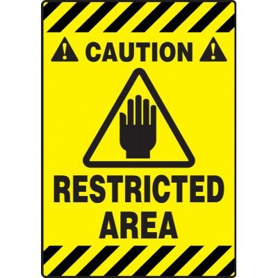 Caution - Restricted Area - Mat Style Floor Sign