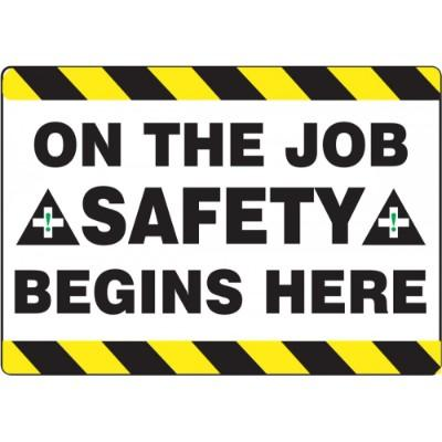 On the Job Safety Begins Here - Mat Style Floor Sign