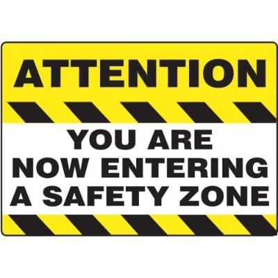 Attention - You Are Now Entering a Safety Zone - Mat Style Floor Sign