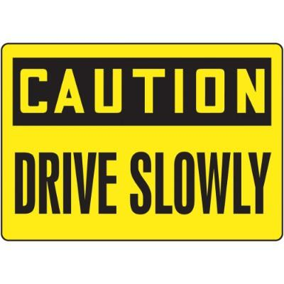 Caution - Drive Slowly - Mat Style Floor Sign