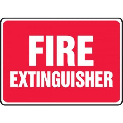 Fire Extinguisher Sign (Red Background)