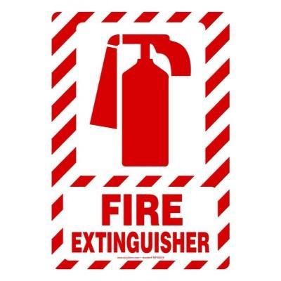 Fire Extinguisher Sign (White/Red Stripes)