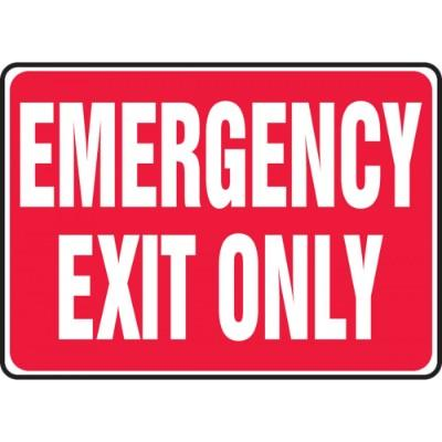 Emergency Exit Only Sign (Red Background)