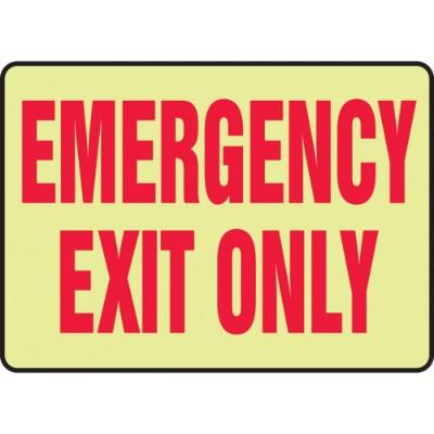 Emergency Exit Only Glow Sign