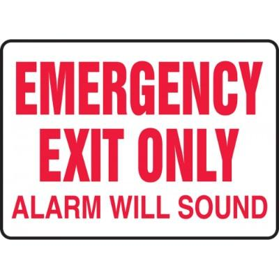 Emergency Exit - Alarm Will Sound Emergency Sign