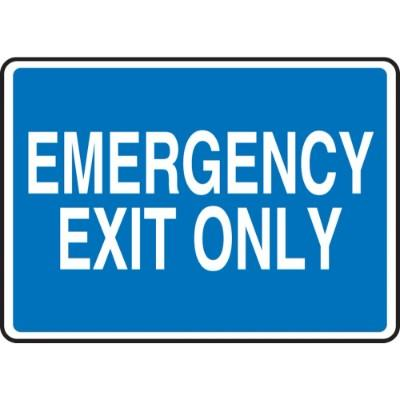 Emergency Exit Only Sign (Blue Background)