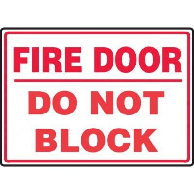 Fire Door - Do Not Block Emergency Sign