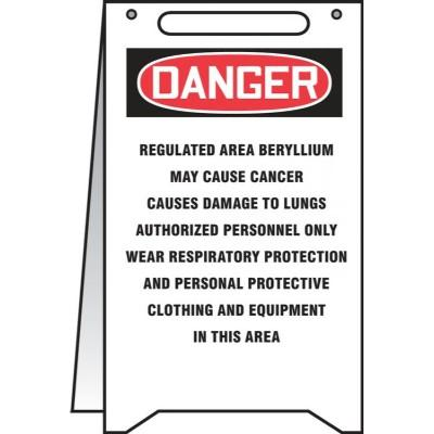 Danger - Regulated Area, Beryllium May Cause Cancer OSHA Folding Beryllium Sign