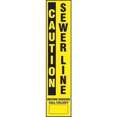 Caution - Sewer Line Buried Utility Label