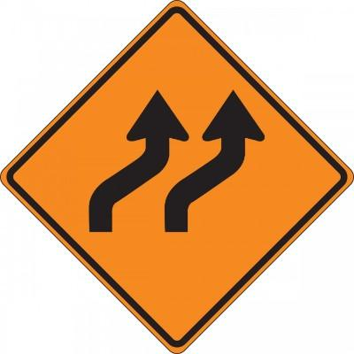 Two Lane Reverse Curve Roll-Up Construction Sign