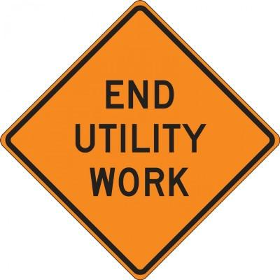 End Utility Work Roll-Up Construction Sign