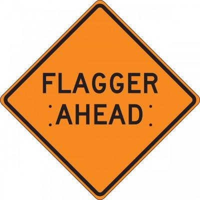 Flagger Ahead Roll-Up Construction Sign