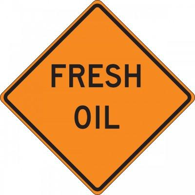 Fresh Oil Roll-Up Construction Sign