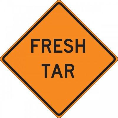 Fresh Tar Roll-Up Construction Sign