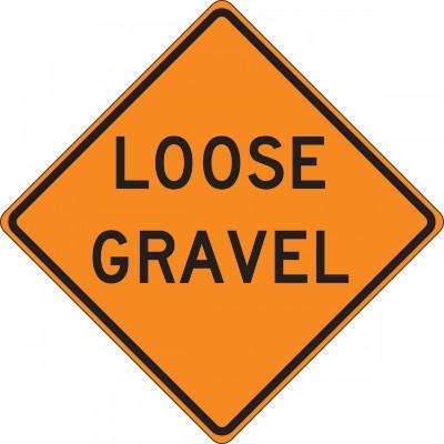 Loose Gravel Roll-Up Construction Sign