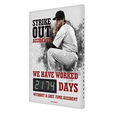 Strike Out Accidents _ Days Without a Lost Time Accident (White) Safety Scoreboard