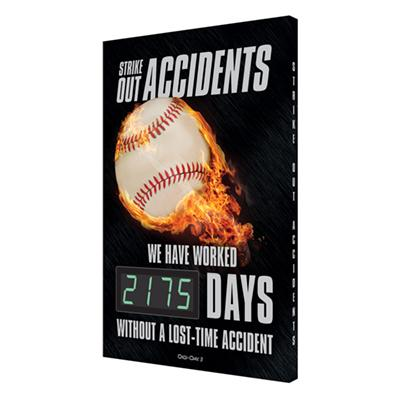 Strike Out Accidents _ Days Without a Lost Time Accident (Black) Safety Scoreboard