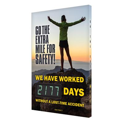 Go the Extra Mile for Safety! _ Days Without a Lost Time Accident - Safety Scoreboard