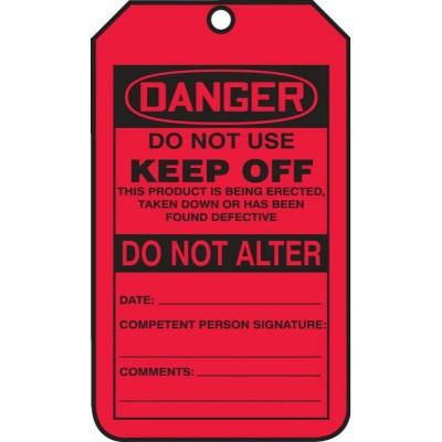 Danger - Do Not Use, Keep Off OSHA Status Record Tag