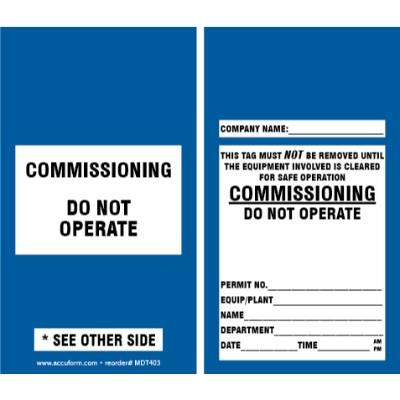 Commissioning - Do Not Operate Tag